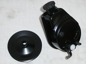Black Saginaw Power Steering Pump Key Way A Can Style Pulley Chevy Gm Sbc