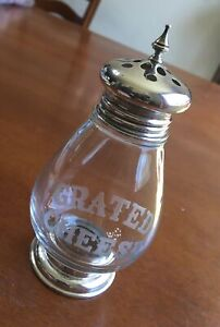 Vintage Frank M Whiting Sterling Silver Etched Glass Grated Cheese Shaker