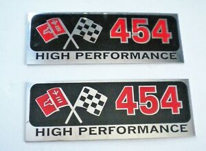 2 Big Block Chevy Bbc 454 High Performance Metal Plaques Valve Cover Etc Nice