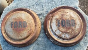 2 Used Vintage Oem 1957 58 59 60 Ford Truck 10 1 2 Dog Dish Hubcaps For Restore