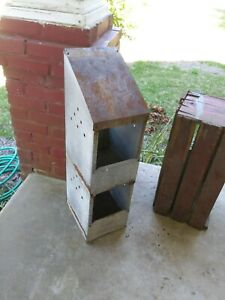 Vintage Chicken Hen Nest Box Rusty Industrial Galvanized Metal Barn Farm Fresh 2
