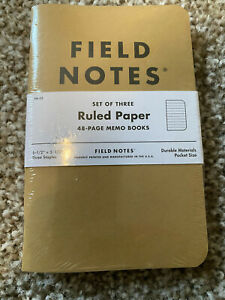Field Notes Original Kraft 3 pack Ruled Paper 48 Pages 3 5 X 5 5 New