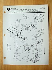 Rockwell 17 Drill Press Old Style With Dp 600 Z Head Casting Parts List Dp 10