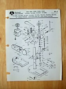 Rockwell 14 Drill Press Old Style Dp 220 Head Casting Parts List Dp 4