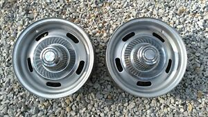 Two Original 14x6 Rally Wheels K 1 8 10 With Center Caps