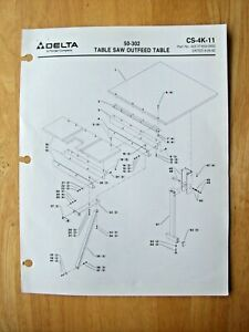 Delta 50 302 Table Saw Outfeed Table Illustrated Parts List Cs 4k 11
