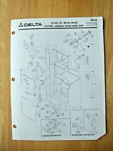 Delta 20 Metal Wood Cutting Var Speed Band Saw 28 345 Parts List Bs 4a