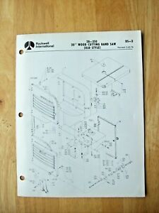 Rockwell 20 Wood Cutting Band Saw Old Style 28 350 Parts List Bs 3
