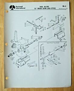 Original Rockwell 12 Wood Lathe Old Style Illustrated Parts List Wl 3