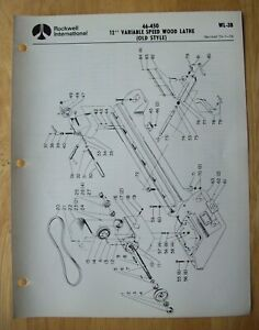 Rockwell 12 Variable Speed Wood Lathe Old Style Illustrated Parts List Wl 3b
