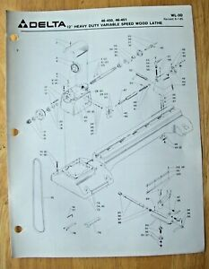 Delta 12 Heavy Duty Variable Speed Wood Lathe Illustrated Parts List Wl 3d