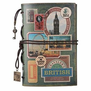 Leather Journal Notebook Spiral Bound Traveler Notebook For Women A6 Stamps