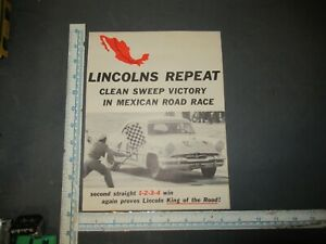 1954 Lincoln Mexican Road Race Sales Brochure