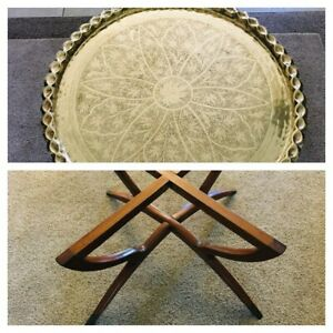 Mcm Brass Moroccan Style Flower Of Life Coffee Table With Wooden Legs