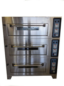 3 deck Commercial Bakery Oven Electric 240vac General Gem120 Mixer Trays