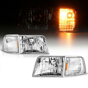 For 1993 97 Ford Ranger Pickup Chrome Left right Corner Headlights Signal Lamps