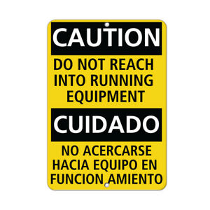 Vertical Metal Sign Multiple Sizes Caution Reach Running Equipment Hazard