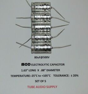 Mod Electrolytic Capacitor 80uf 500volt Axial Set Of 5
