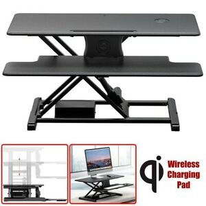 Electric Sit Stand Riser Desk Height Adjustable Converter Wireless Charging Pad
