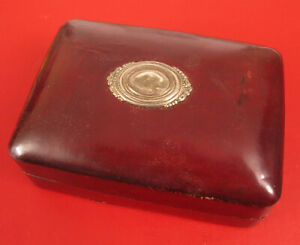 Antique Budd Leather Sterling Silver Trinket Box Jewelry Cigarette Italy Rare
