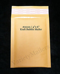50 Kraft Bubble Envelopes 4x6 Small Self sealing Padded Mailers