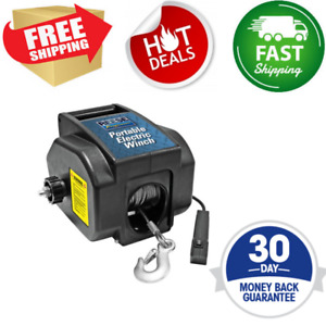 New 12 V Volt Portable Electric Winch Towing Boat Atv Truck Trailer 2000 Remote