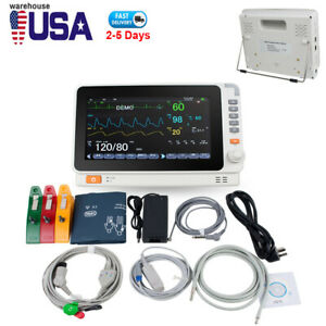 Medical 10 Vital Sign Dental Patient Monitor Ecg Nibp Resp Temp Spo2 Pr Usa