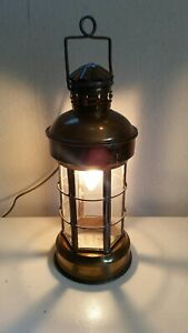 Vintage Brass Glass Nautical Ships Lantern Hanging Or Table Lamp 17 Tall