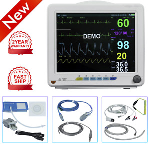 12 Vet Vital Signs Patient Monitor Nibp Spo2 Ecg Temp Resp Pr Audible visual Us