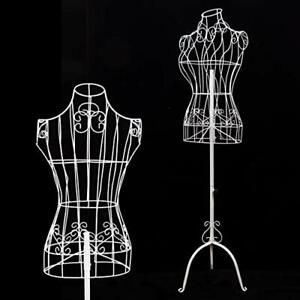 Female White Metal Steel Wire Mannequin Dress Form For Sewing Display White