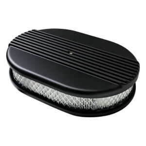 Billet Specialties Air Cleaner Small Oval Ribbed Black Blk15630