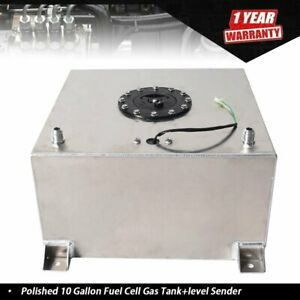 10 Gallon Racing drift street Polished Aluminum Fuel Cell Gas Tank level Sender