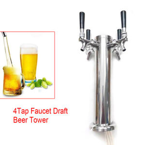 4 Tap Faucet Draft Beer Tower Stainless For Kegerator Home Brew Silver Hot Sale