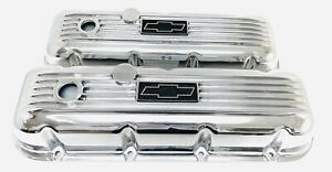 Nos Ansen Big Block Chevy Valve Covers Finned Polished Bow Tie Logo Plate