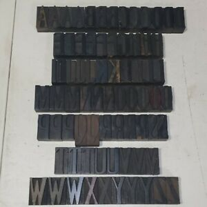 Antique 2 Letterpress Wood Type Printing Blocks Alphabet Uppercase Letters Lot6