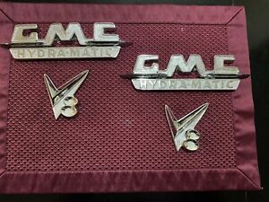 1955 1956 1957 Gmc Truck Emblems Hydra magic V8 Pair Show Chrome Suburban