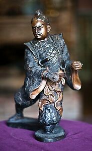 Antique Japanese Hot Cast Bronze Statue Figurine Of Samurai Warrior 12 High