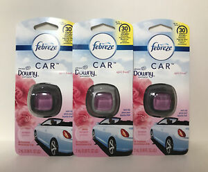 3 Febreze Downy April Fresh Car Vent Clips Air Freshener W Odor Clear