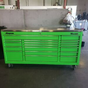 Snap on Classic 96 3 Bank 18 Drawer Stainless Top Extreme Green