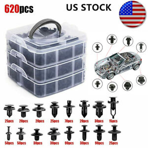 620packs Car Retainer Clips Auto Fasteners Push Trim Pin Rivet Bumper Kit Usa
