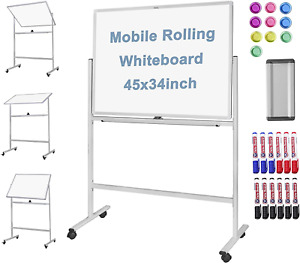 Large Mobile Rolling 45 X 34 Inch White Board Double Sided Dry Erase Frame With