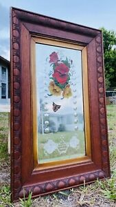 Rare Vintage Antique Beveled Reverse Glass Painted Butterfly Etched Mirror