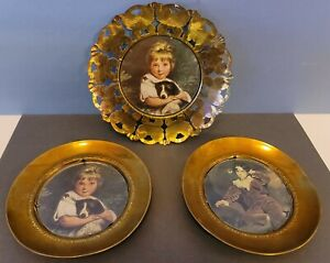 Vintage Brass England Small Framed Victorian Era Pictures 3pc Set