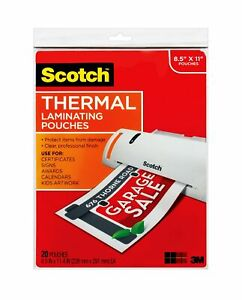 Scotch Thermal Laminating Pouches 8 9 X 11 4 inches 3 Mil Thick 20 pack t