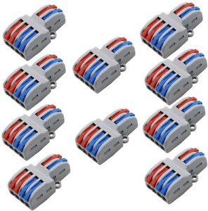 Tatoko 10pcs Mini Fast Wire Connector Universal Wiring Cable Connector Push in 2