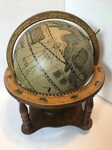 Vintage Wooden Old World Globe With Zodiac Astrology Signs Made In Japan