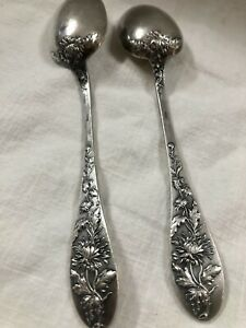 Two Ercuis Ornate Silver Plate Tea Spoons France