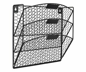 Easypag 3 Tier Wall File Holder Hanging Mail Organizer Metal Chicken Wire Wal