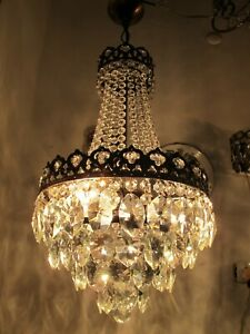 Antique Vnt French Crystal Casting Brass Chandelier Lamp Light 1940s 12 Dmt