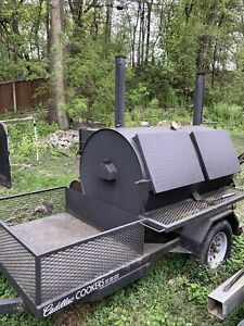 Commercial catering Smoker Trailer Wood charcoal Rotisserie Large Capacity